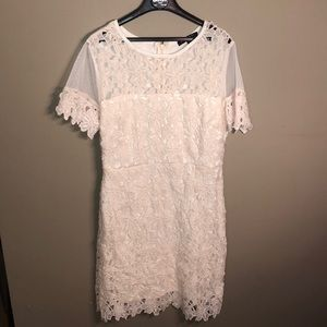 romeo & juliet cream lace mini dress